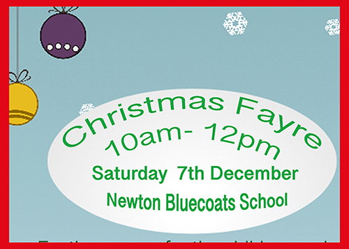Christmas Fayre.   Saturday 7th December. Click READ MORE for poster.