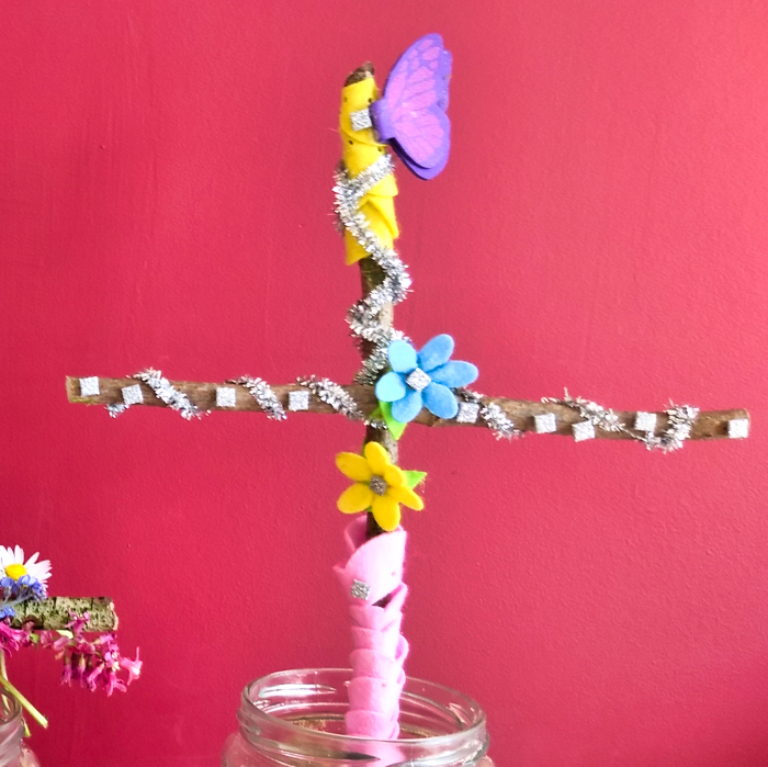 Charlotte, Amy and Edward decorated their crosses for Easter.